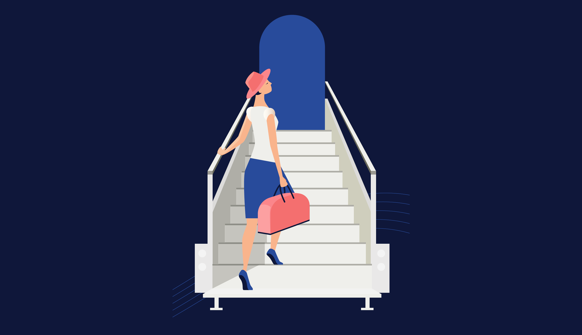 Woman Climbing Stairs to Airplane