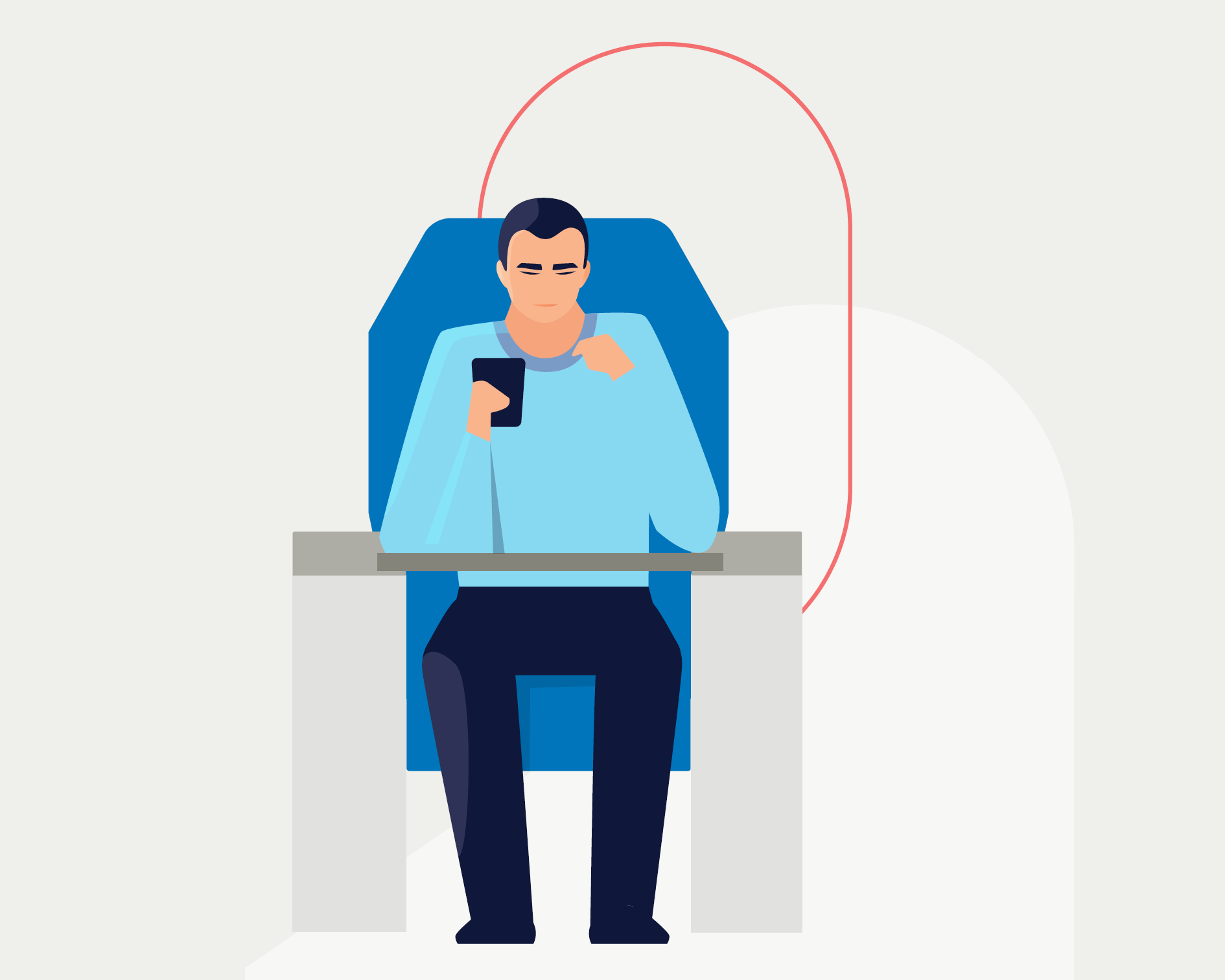 Man with Phone on Plane