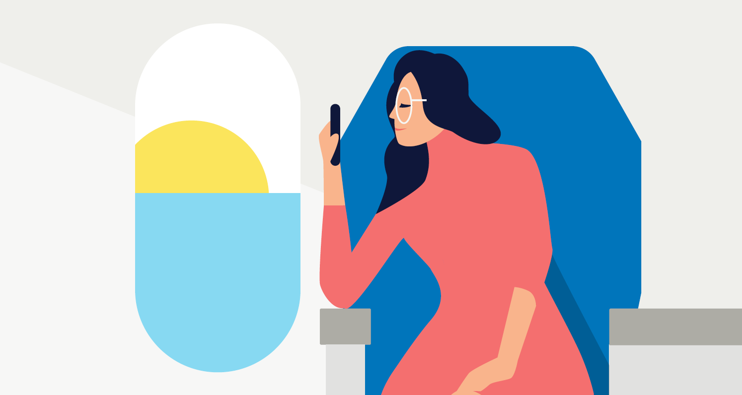 Woman with Phone on Plane